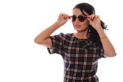 Beautiful girl glamour portrait  in heart shape sunglasses Stock Photo