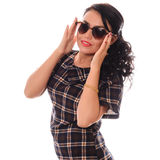Beautiful girl glamour portrait  in heart shape sunglasses Royalty Free Stock Image