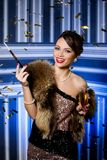 Beautiful girl with glass of champagne Stock Images