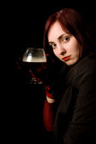 Beautiful girl with a glass of cognac Royalty Free Stock Images
