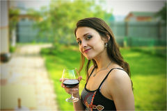 Beautiful girl with the glass of wine Royalty Free Stock Photo