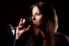 Beautiful girl with glass of wine Stock Photos