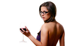 Beautiful girl with glass of wine Royalty Free Stock Photos