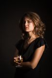 Beautiful girl with glass of  wine Stock Images