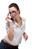 Beautiful Girl in glasses Royalty Free Stock Photos