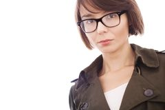 Beautiful girl wearing glasses and shirt royalty free stock image