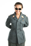 Beautiful girl with glasses and military uniform. Funny girl in a funny shape Stock Photo