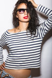 Beautiful girl in glasses with red lips and wet hair. Beauty face Royalty Free Stock Photo