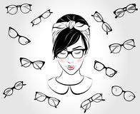 Beautiful girl with glasses Stock Image