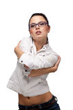 Beautiful Girl in glasses on a white royalty free stock image