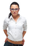 Beautiful Girl in glasses on a white Stock Photos