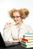 Beautiful girl with glasses working on computer Royalty Free Stock Photo