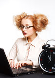 Beautiful girl with glasses working on computer Stock Images