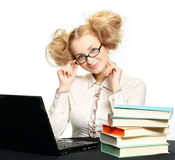 Beautiful girl with glasses working on computer Royalty Free Stock Image