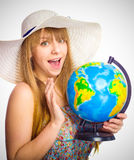 Beautiful  girl with globe Royalty Free Stock Image