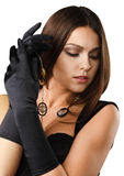 Beautiful girl in gloves Stock Photos