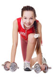 A beautiful girl goes in for sports Royalty Free Stock Photography