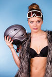 Beautiful girl with goggle and helmet. Stock Photos