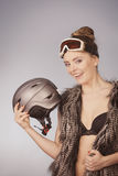 Beautiful girl with goggle and helmet. Stock Photo