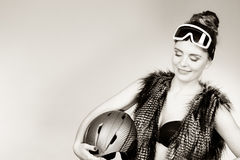 Beautiful girl with goggle and helmet. Royalty Free Stock Image