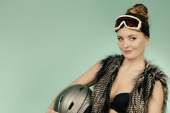 Beautiful girl with goggle and helmet. Stock Image