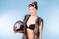 Beautiful girl with goggle and helmet. Royalty Free Stock Images