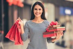 Beautiful girl going shopping Stock Image