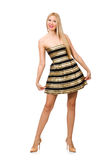 The beautiful girl in gold and black dress Royalty Free Stock Photos