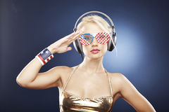 Beautiful girl in gold swimwear Royalty Free Stock Photography