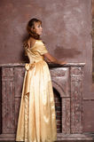 Beautiful girl in golden dress Royalty Free Stock Photography