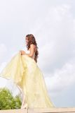 Beautiful girl in golden dress Stock Photography