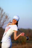 Beautiful girl golfer Stock Photo