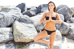 Beautiful girl in good shape doing yoga by the rocks Royalty Free Stock Photo
