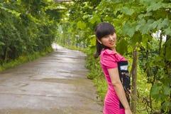 Beautiful girl and grape trellis Stock Image