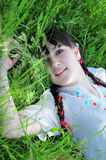 Beautiful girl in grass Royalty Free Stock Images