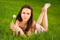 Beautiful girl on grass Royalty Free Stock Photography