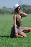 Beautiful girl on grass Stock Photography