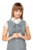Beautiful girl in gray gown Stock Photo