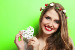 Beautiful girl on green background Stock Images