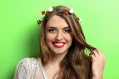 Beautiful girl on green background. Portrait of a beautiful girl on a green background Royalty Free Stock Image