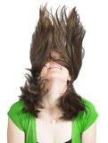 Beautiful girl in green with crazy hair Royalty Free Stock Photography