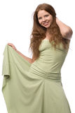 Beautiful girl in green dress Royalty Free Stock Image