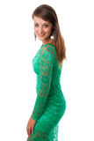 Beautiful girl in green evening gown Stock Photography