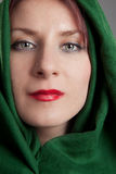 Beautiful girl in green headscarf Royalty Free Stock Photos