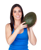 Beautiful girl with a green melon Stock Image
