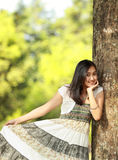 Beautiful girl in green nature Royalty Free Stock Photo