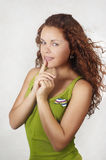 Beautiful girl in green tanktop Royalty Free Stock Images