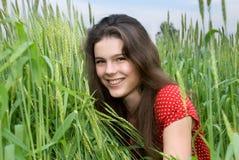 Beautiful girl in green wheat field. Beautiful girl weared red dress in green wheat field Royalty Free Stock Images