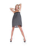 The beautiful girl in a grey dress Stock Image