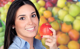 Beautiful girl in the grocery Royalty Free Stock Photos